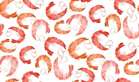 Decorative stylish shrimp seamless pattern.