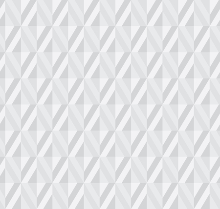 Abstract light gray 3d effect polygon geometry seamless pattern with rhombus tile. Embossing illusion repeatable geometric motif for header, poster, background. Ilustração