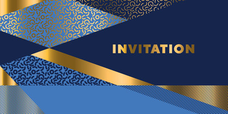 Lines geometric pattern for invitation.  Gold and sea blue stripes design element for elegant festive projects and awards.