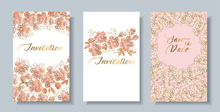 Decorative pastel rosy and gold color sakura flowers card set. Elegant light invitation or poster with spring abstract floral motif Illusztráció