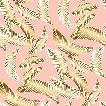 Rose gold tropical seamless pattern with palm foliage. vector illustration repeatable motif for background, wrapping paper, fabric, surface design