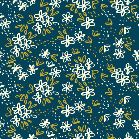 Naive simple floral seamless pattern for background, wrapping paper, fabric, surface design. Classic traditional tiny repeatable motif in cosy home style