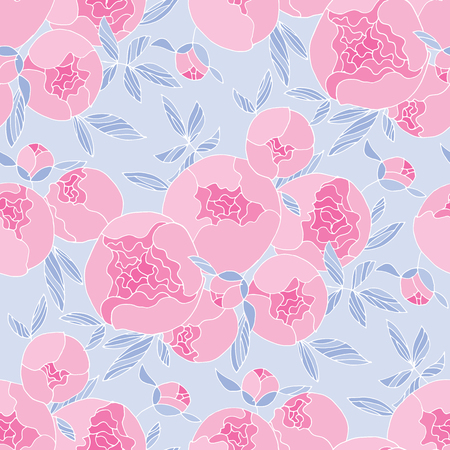 Tender line peony flower seamless pattern. Floral pale color repeatable motif.