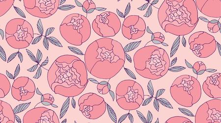 Tender pink round peony flower seamless pattern. Floral elegant color repeatable motif.