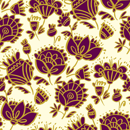 Folk-style classic floral pattern. Peasant naive and luxury decorative flower seamless pattern. Repeatable motive in deep red and gold.