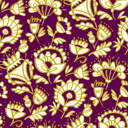 Folk-style classic floral pattern. Peasant naive and luxury decorative flower seamless pattern. Repeatable motive in deep red and gold. Vector Illustration