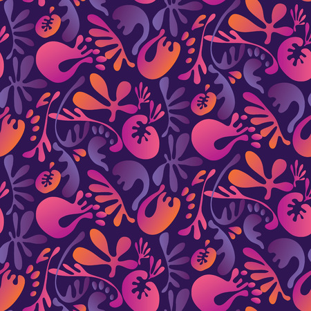 Abstract tropical colorful floral seamless pattern. Concept bright exotic summer flowers with unreal fairytale liquid shapes.
