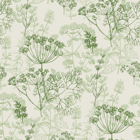 Elegant classic herbal seamless pattern for background, wrapping paper, fabric, surface design. French grass for cooking in repeatable motif.