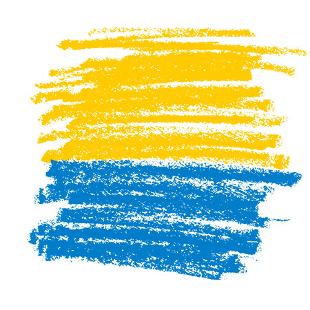 Yellow and blue pencil texture for background. Hand drawn abstract ukrine flag colors. Illustration