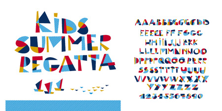 Marine style fun childish ABC set for summer projects. Alphabet and numerals design elements for header, card, invitation, poster, cover.