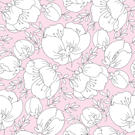 Tender romantic abstract flowers seamless pattern. Simple peony floral vector motif for background, wrapping paper, fabric, surface design