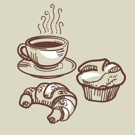 Coffee cup, croissant and muffin in sketch style for header, card, invitation, poster, cover and other web and print design projects Иллюстрация