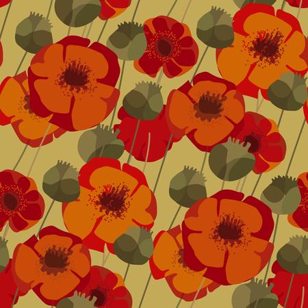 Nahtloses Muster von Mohnblumen und Samenkästen für Hintergrund, Geschenkpapier, Stoff, Oberflächendesign. Dekoratives rotes Blumenwildwiesenwiederholungsmotiv Vektorgrafik