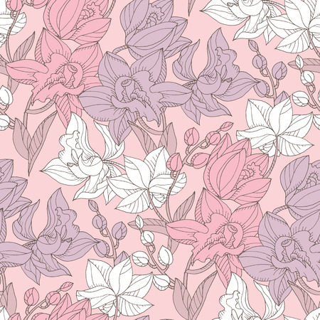 Hand drawn realistic orchid floral seamless pattern. Decorative topical flower repeatable motif for fabric, background, surface design. Stock vector illustration.