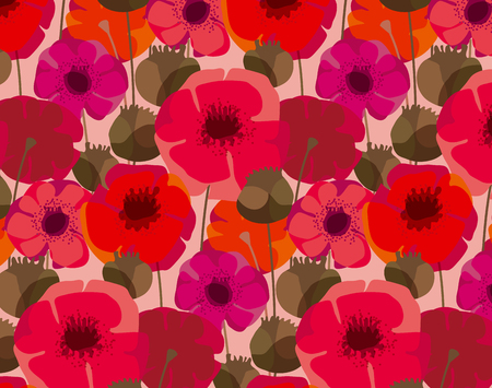 Poppy flowers and seed boxes seamless pattern for background, wrapping paper, fabric, surface design. Decorative red floral wild meadow repeatable motif Ilustração Vetorial