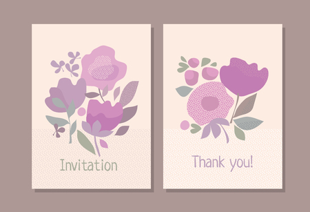 Abstract pastel color boho style floral element for header, card, invitation, poster, cover. Decorative wild meadow flowers stick vector illustration Illusztráció