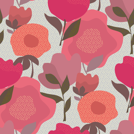 Abstract dust color boho style floral seamless pattern for background, wrapping paper, fabric, surface design. Decorative wild meadow flowers repeatable motif Vektorgrafik