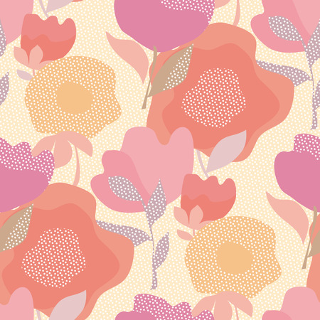 Nahtloses Blumenmuster des abstrakten Pastellfarbenboho-Stils für Hintergrund, Geschenkpapier, Stoff, Oberflächendesign. Dekoratives wilder Wiesenblumen wiederholbares Motiv Vektorgrafik