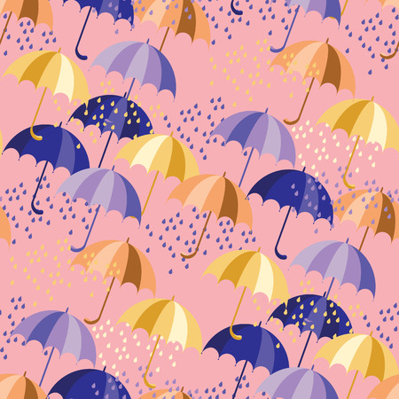 Flat colorful umbrellas and drops seamless pattern for background, wrapping paper, fabric, surface design. Decorative autumn repeatable motif