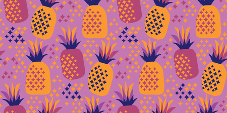 Cool party night colors pineapple seamless pattern. Simple tropical fruit vector motif for background, wrapping paper, fabric, surface design