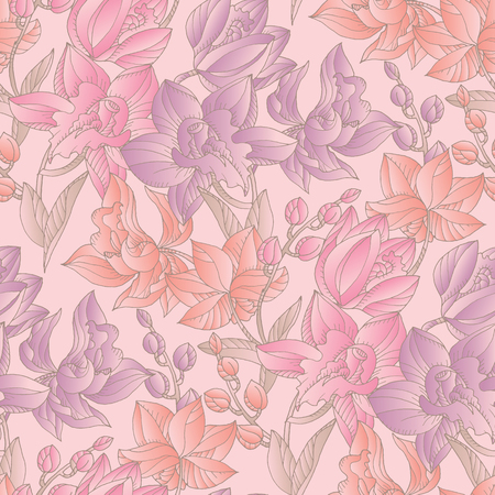 Tender pastel colors orchid floral seamless pattern. Decorative topical flower repeatable motif for fabric, background, surface design. Stock vector illustration.