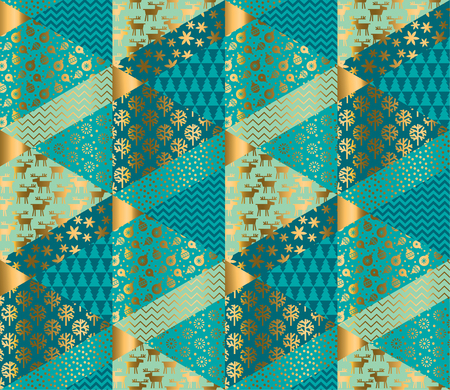 Decorative patchwork style mosaic Christmas seamless pattern for background, wrapping paper, fabric, surface design. Geometric textured decorative repeatable motif