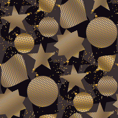 Elegant minimal gold and black Christmas baubles seamless pattern for background, wrapping paper, fabric, surface design. Decorative xmas repeatable motif