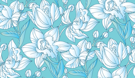 Light blue and white orchid floral seamless pattern. Decorative topical flower repeatable motif for fabric, background, surface design. Stock vector illustration.