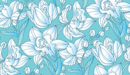 Patrón transparente floral orquídea azul claro y blanco. Motivo repetible de flores tópicas decorativas para tela, fondo, diseño de superficie. Ilustración vectorial de stock.