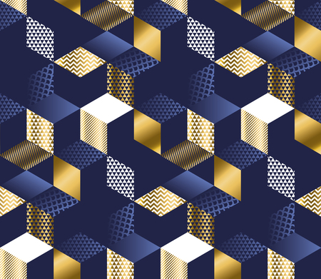 Geometric blue and gold cubes luxury seamless pattern. Hexagons abstract textured shapes repeatable motif for or background, wrapping paper, fabric, surface design.