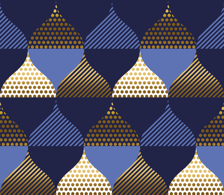 Abstract blue and gold waves luxury seamless pattern. Wavy textured shapes repeatable motif for or background, wrapping paper, fabric, surface design.
