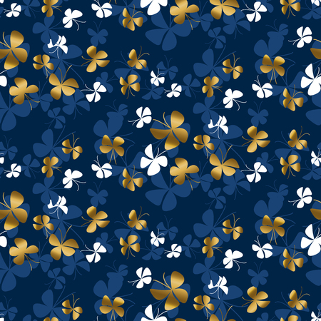 Golden butterfly silhouette in blue and gold colors seamless pattern. Simple gold moth shapes repeatable motif for or background, wrapping paper, fabric, surface design. Illustration