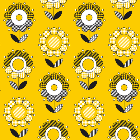 Simple yellow folk style flower seamless pattern. Naive summer bright gold floral repeatable motif. Fabric rapport with black and white decorative flowers.