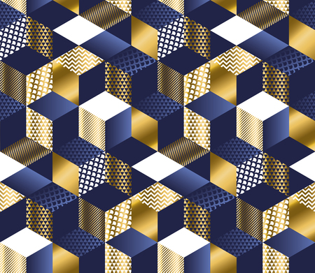 Geometric blue and gold cubes luxury seamless pattern. Hexagons abstract textured shapes repeatable motif for or background, wrapping paper, fabric, surface design. 矢量图像