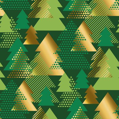 Modèle sans couture de luxe abstrait arbre de Noël géométrique. Motif répétitif de géométrie triangles or et verts. Conception de papier d'emballage de vacances élégante et simple