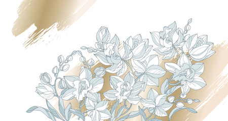 Tender orchid flowers pattern for header, card, invitation, poster, cover and other web and print design projects. Elegant floral design element.