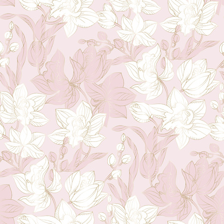 Floral orchid seamless pattern in pastel rosy and gold color. Floral exotic repeatable motif for background, wrapping paper, fabric, surface design