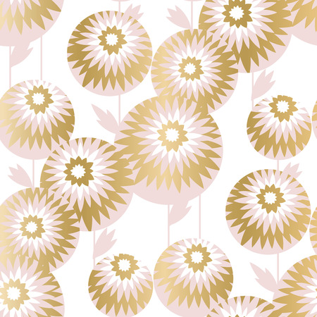 Luxury geometric style chrysanthemum flowers seamless pattern for background, wrapping paper, fabric, surface design. Autumn floral stock vector.
