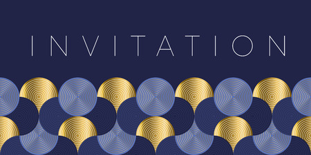 Geometric luxury water waves header pattern. Blue sea wave vector illustration for invitation, cover, border. element for design. Archivio Fotografico - 108866568