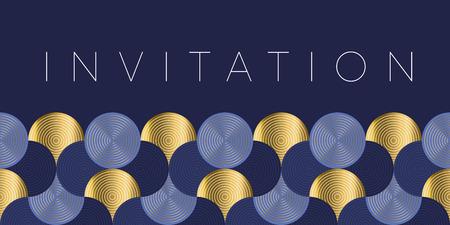 Geometrisches Luxus-Wasserwellen-Header-Muster. Blaue Meereswellenvektorillustration für Einladung, Abdeckung, Grenze. Element für das Design. Vektorgrafik
