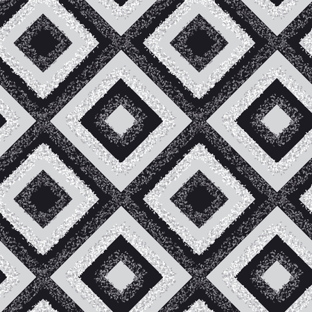 Cool black and white rhombus carpet seamless pattern. Geometric simple laconic dotted textured repeatable motif.