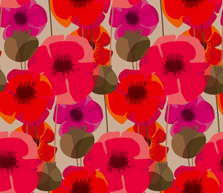 Shabby natural form poppy flower meadow. Seamless pattern for fabric, wrapping paper, wallpaper, surface design