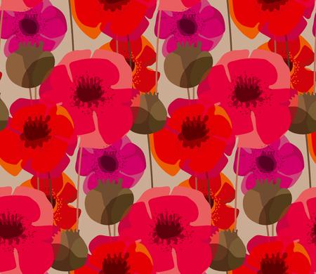 Pré de fleurs de pavot de forme naturelle minable. Modèle sans couture pour tissu, papier d'emballage, papier peint, conception de surface
