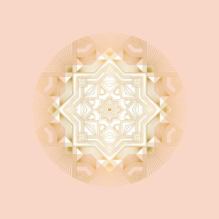 Pale rose sophisticated snowflake design element. Line structure minimal xmas vector decor. One mandala style Christmas snowflake. 向量圖像