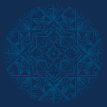 Deep blue sophisticated snowflake design element. Line structure minimal xmas vector decor. One mandala style Christmas snowflake. 스톡 콘텐츠 - 110014099