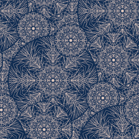 Lace style sophisticated snowflake seamless pattern. Line structure elegant xmas repeatable motif for wrapping paper, wallpaper, fabric.