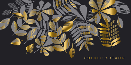Black and gold luxury leaves pattern vector illustration. Geometric autumn elegant element for header, card, invitation, poster, cover and other web and print design projects