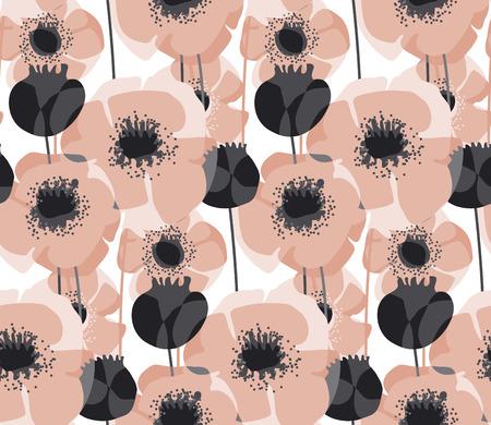 Pastel pink poppy floral seamless pattern vector illustration.
