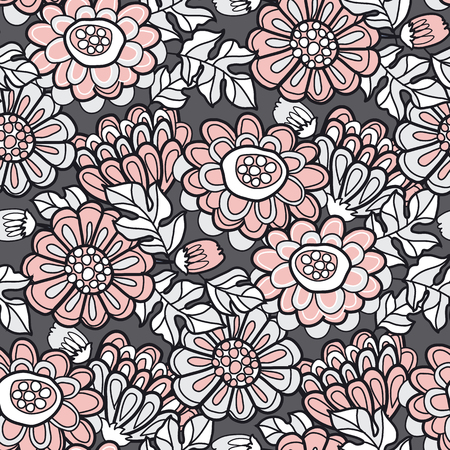 Hand drawn naive autumn flowers seamless pattern in pastel pink, black and white colors. Fall season stock vector illustration.
