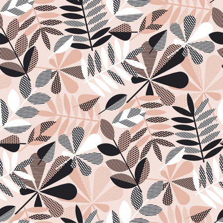 Geometric elegant autumn leaves seamless pattern in pastel pink, black and white colors. Fall season stock vector illustration.